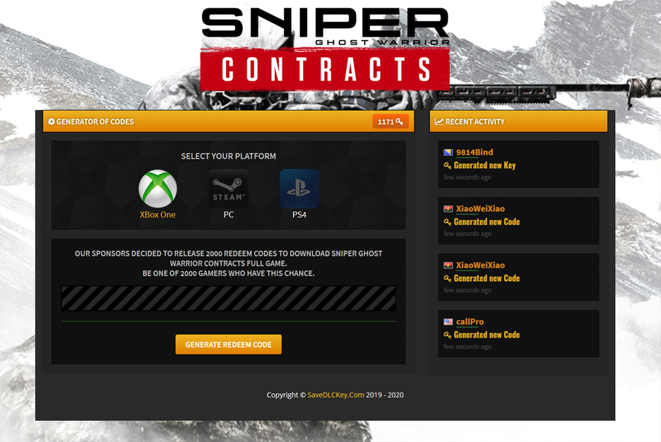 Sniper Ghost Warrior Contracts Redeem Code Generator