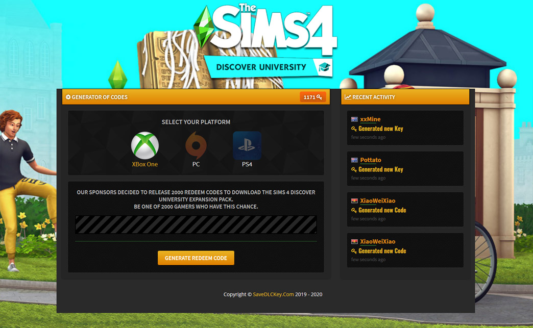 The Sims 4 Discover University Redeem Code Generator